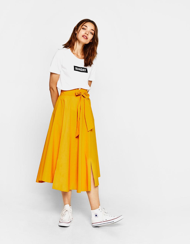 Flared poplin skirt