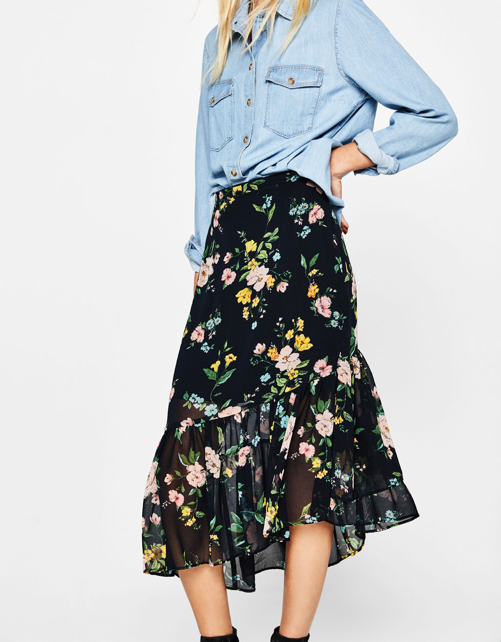 Asymmetric ruffled skirt