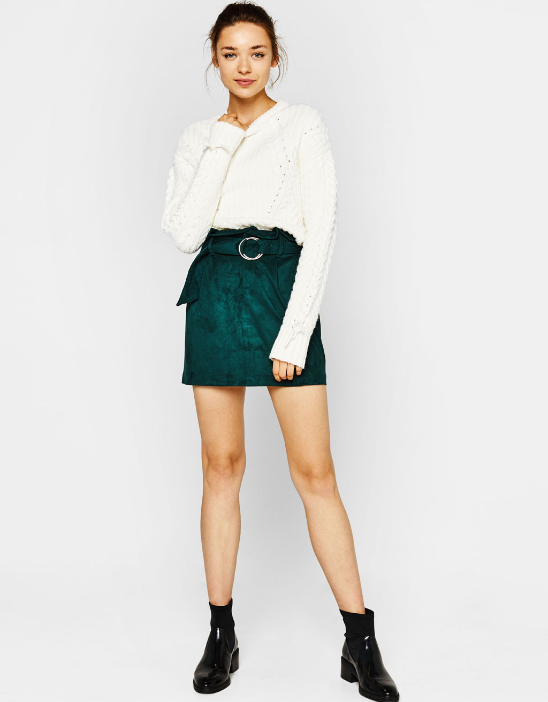 bershka faux suede skirt
