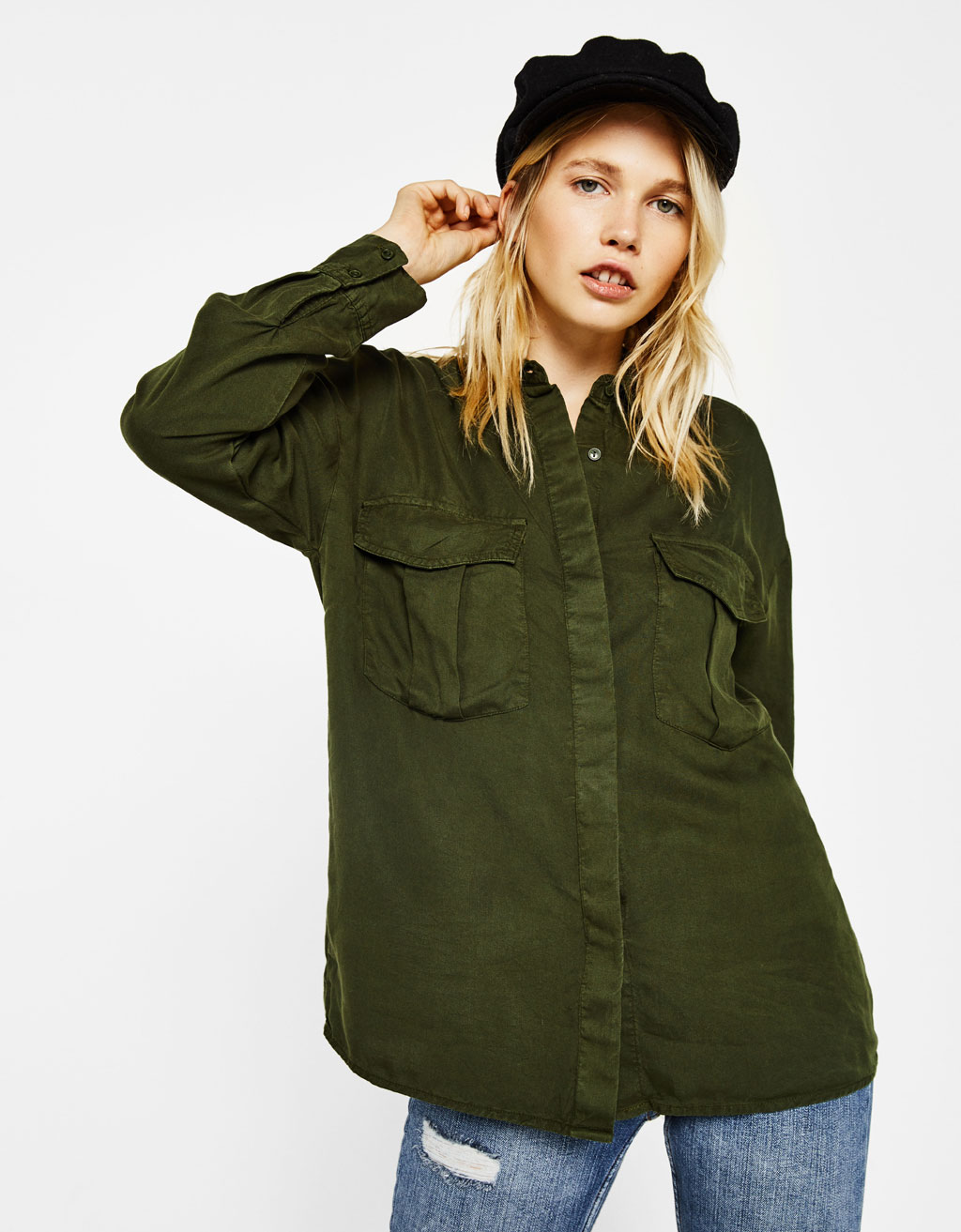 Oversized tencel shirt
