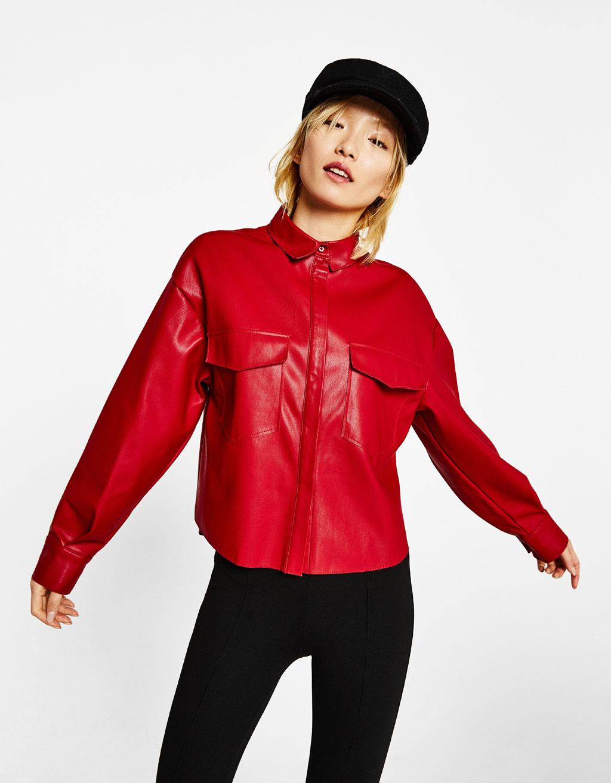 Collezione bershka primavera estate 2016 abbigliamento low cost anni - Camicia Effetto Pelle