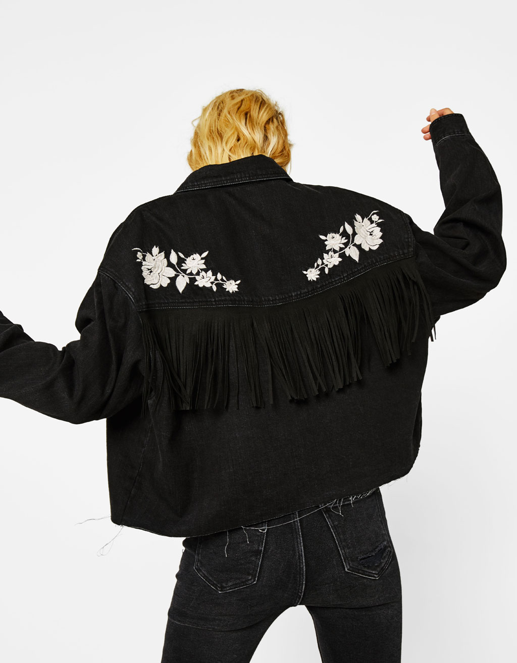 Denim overshirt with embroidery and fringe