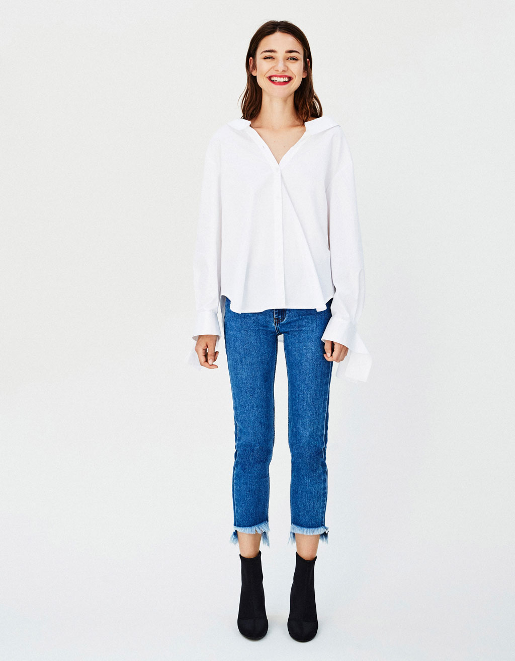 Shirt with open neckline