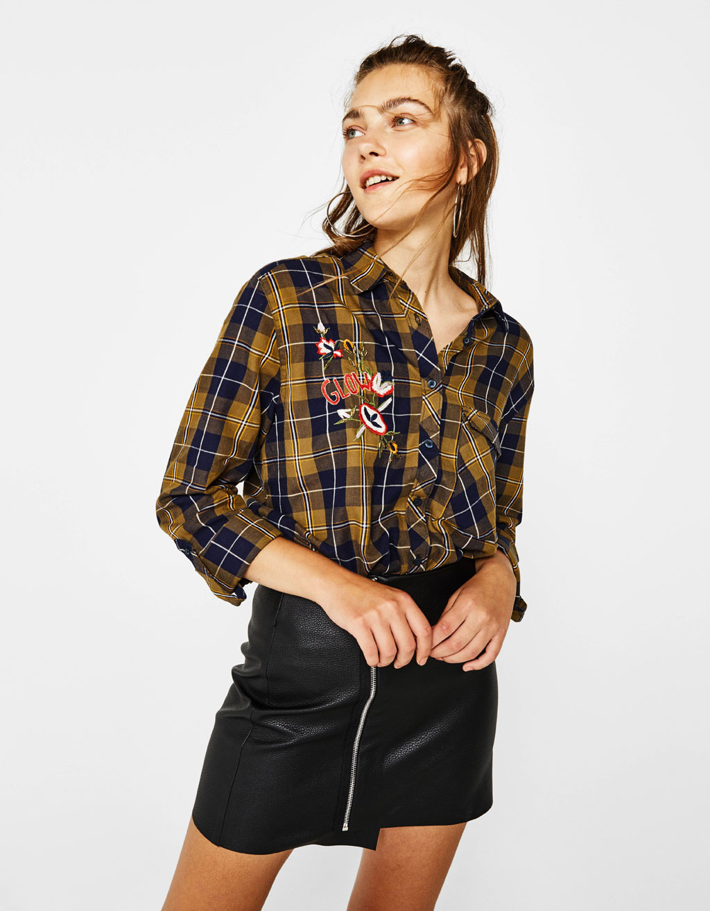 Checked shirt with embroidered detail