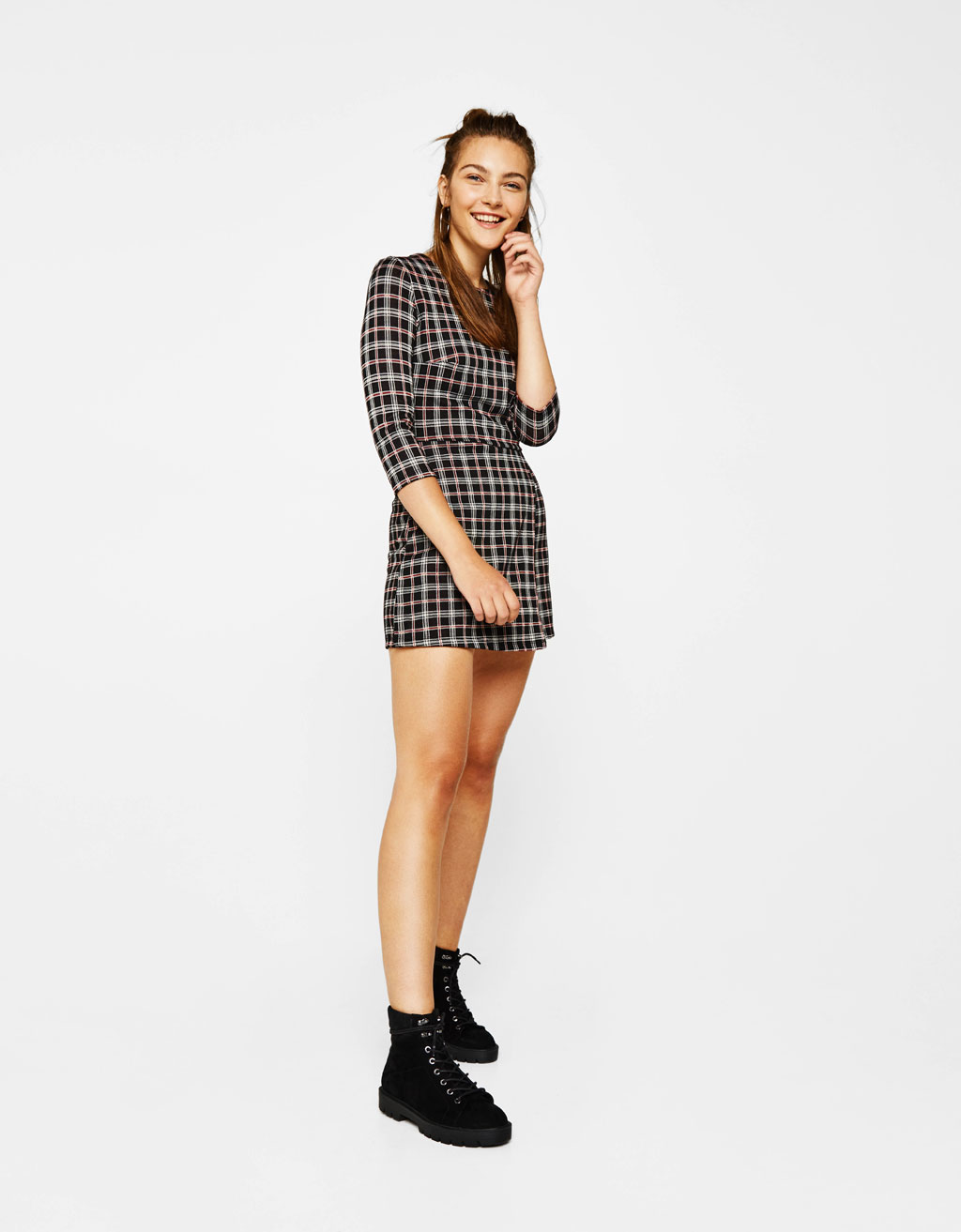 Short jumpsuit with front layer