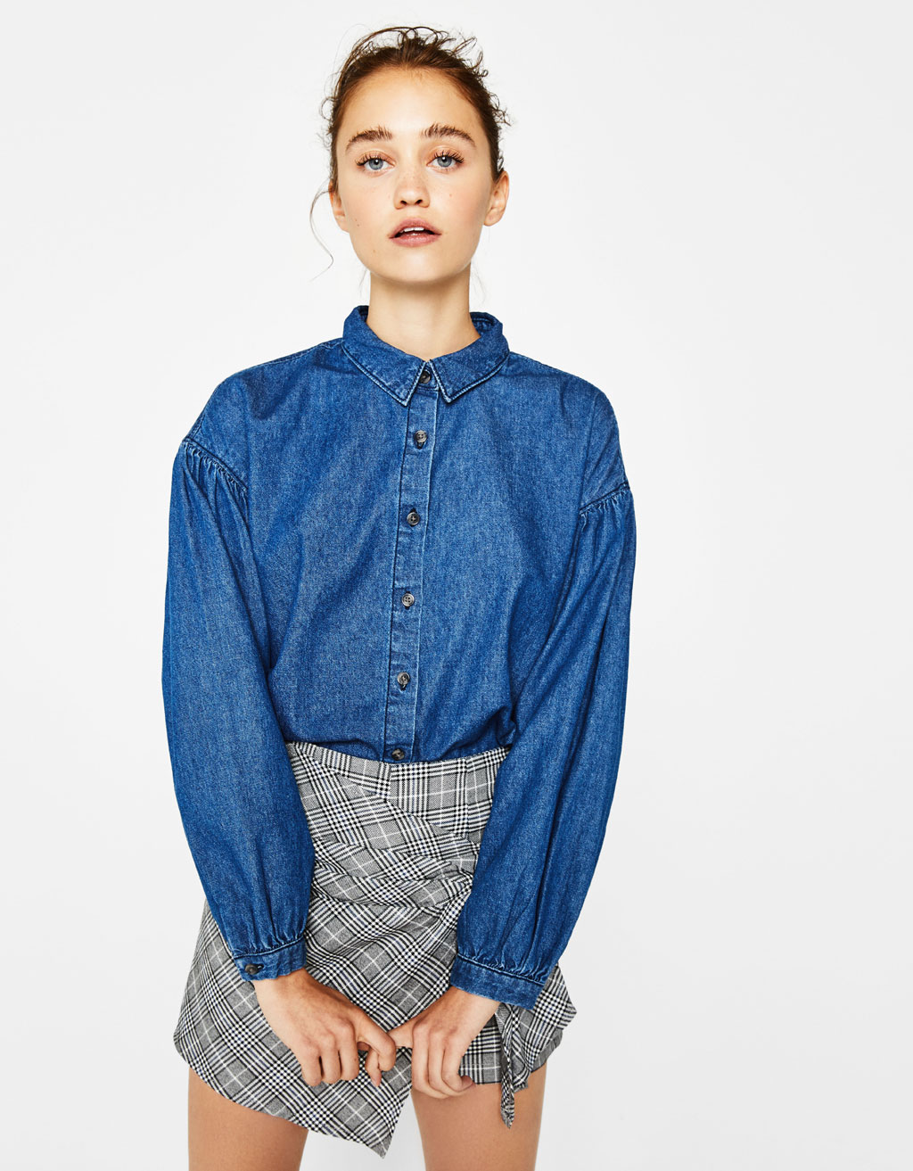 Denim shirt with puffy sleeves