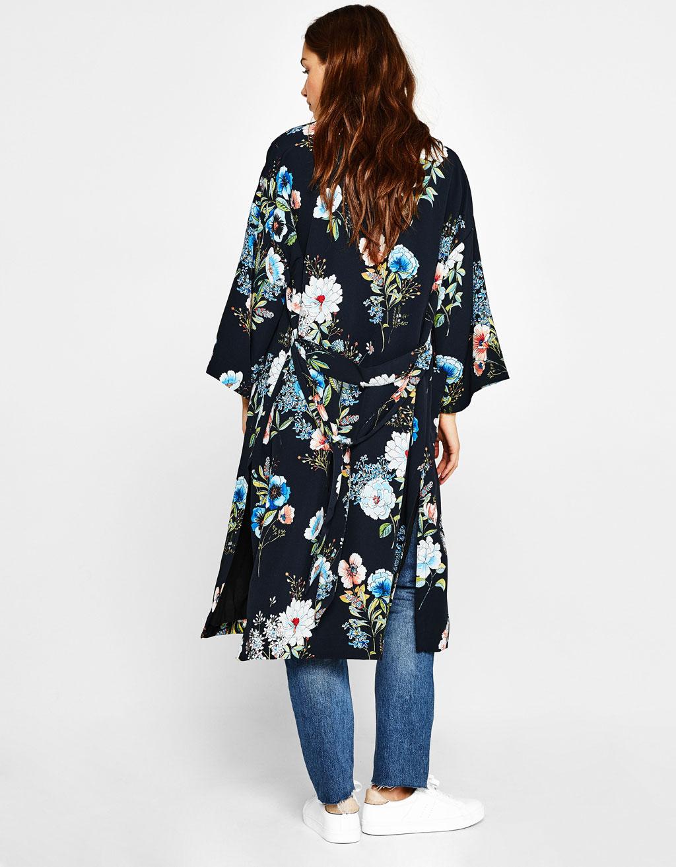 Floral print kimono