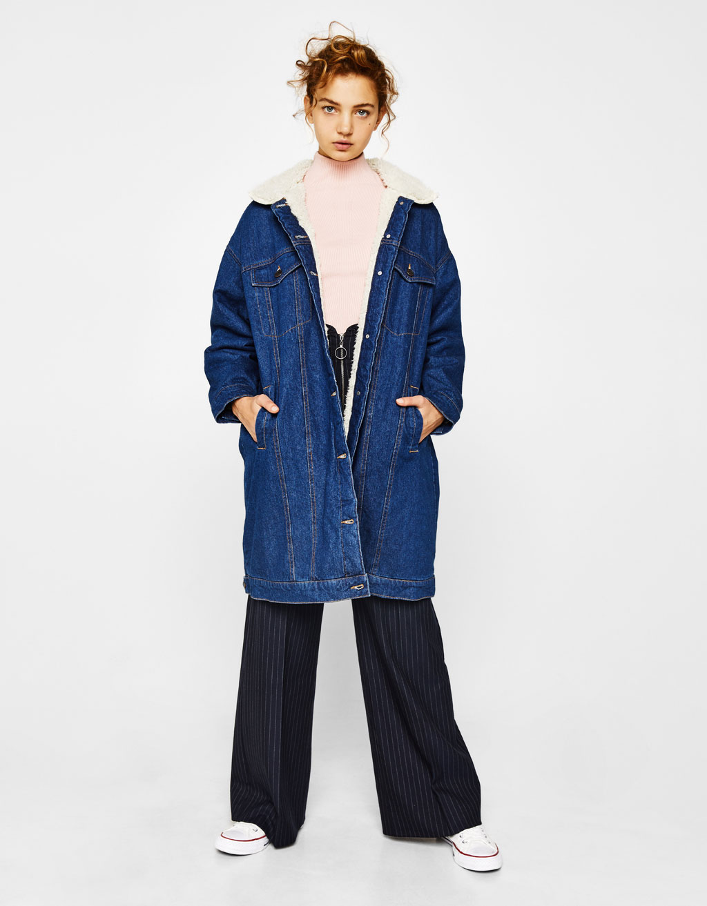 Oversized jacket with faux shearling lining