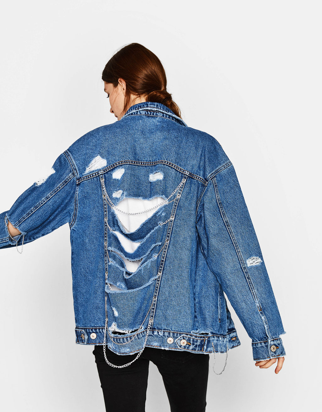 Oversized denim jacket with chains
