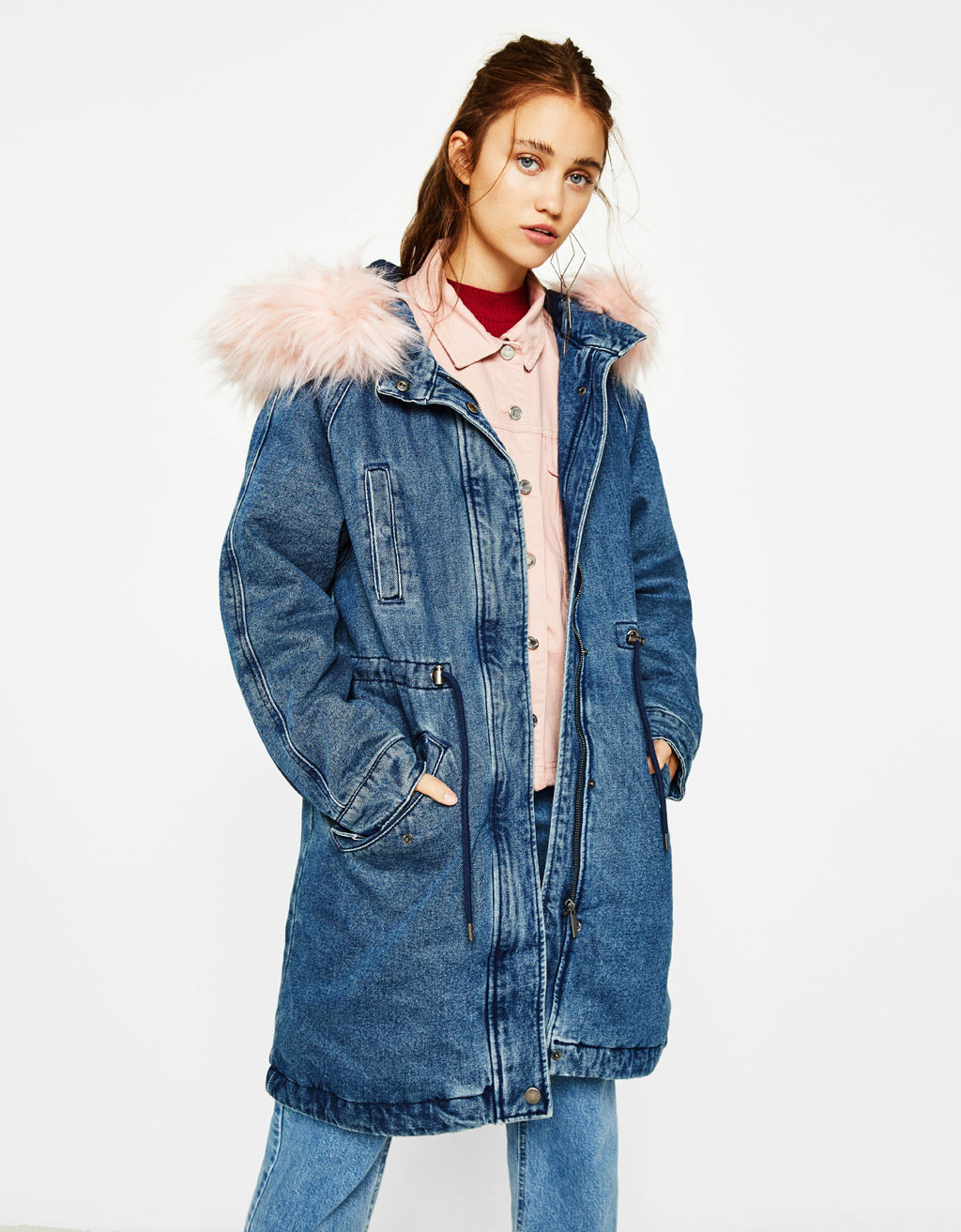 Denim parka with faux fur hood
