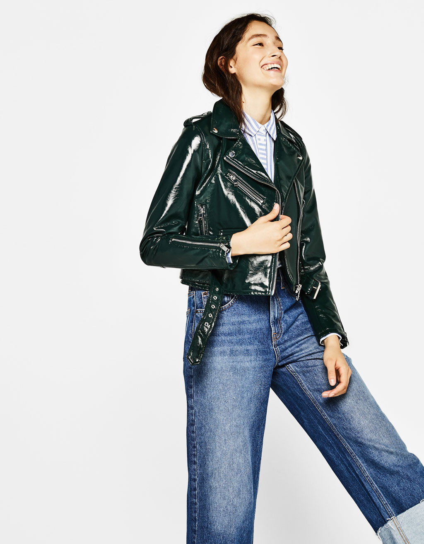Faux vinyl biker jacket