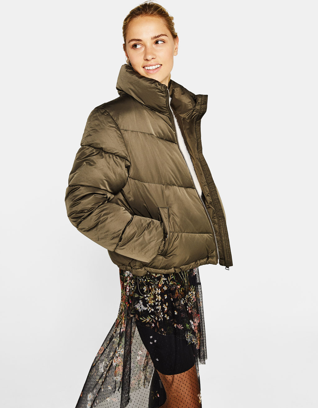 Puffer jacket with gathered hem
