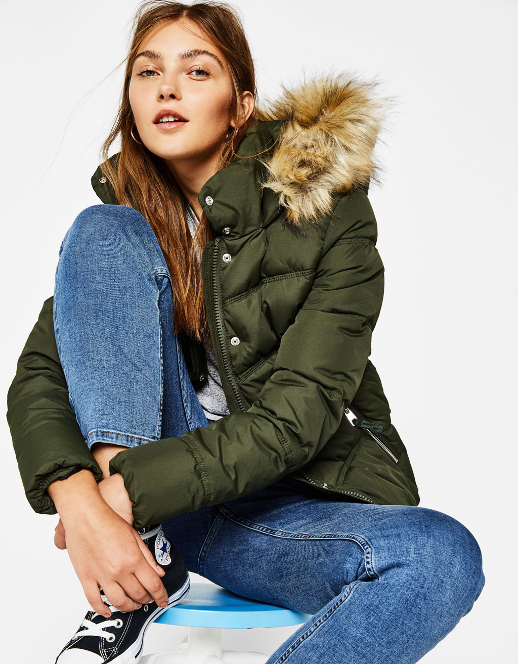 Nylon jacket with faux fur hood