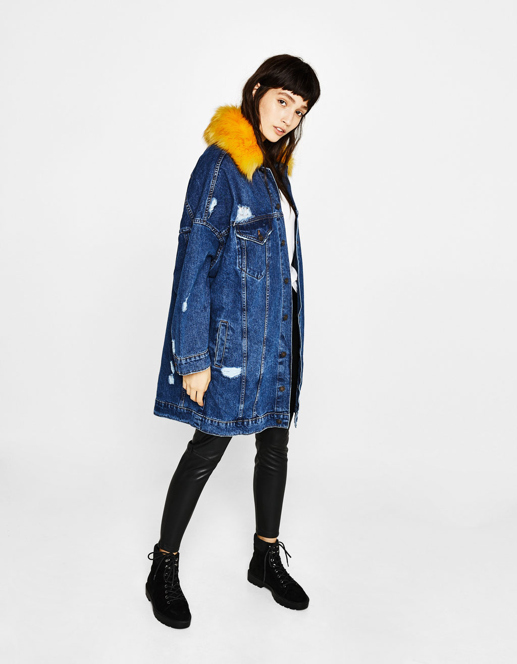 Long denim jacket with removable faux fur trim