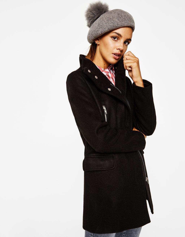Wool blend coat with zips