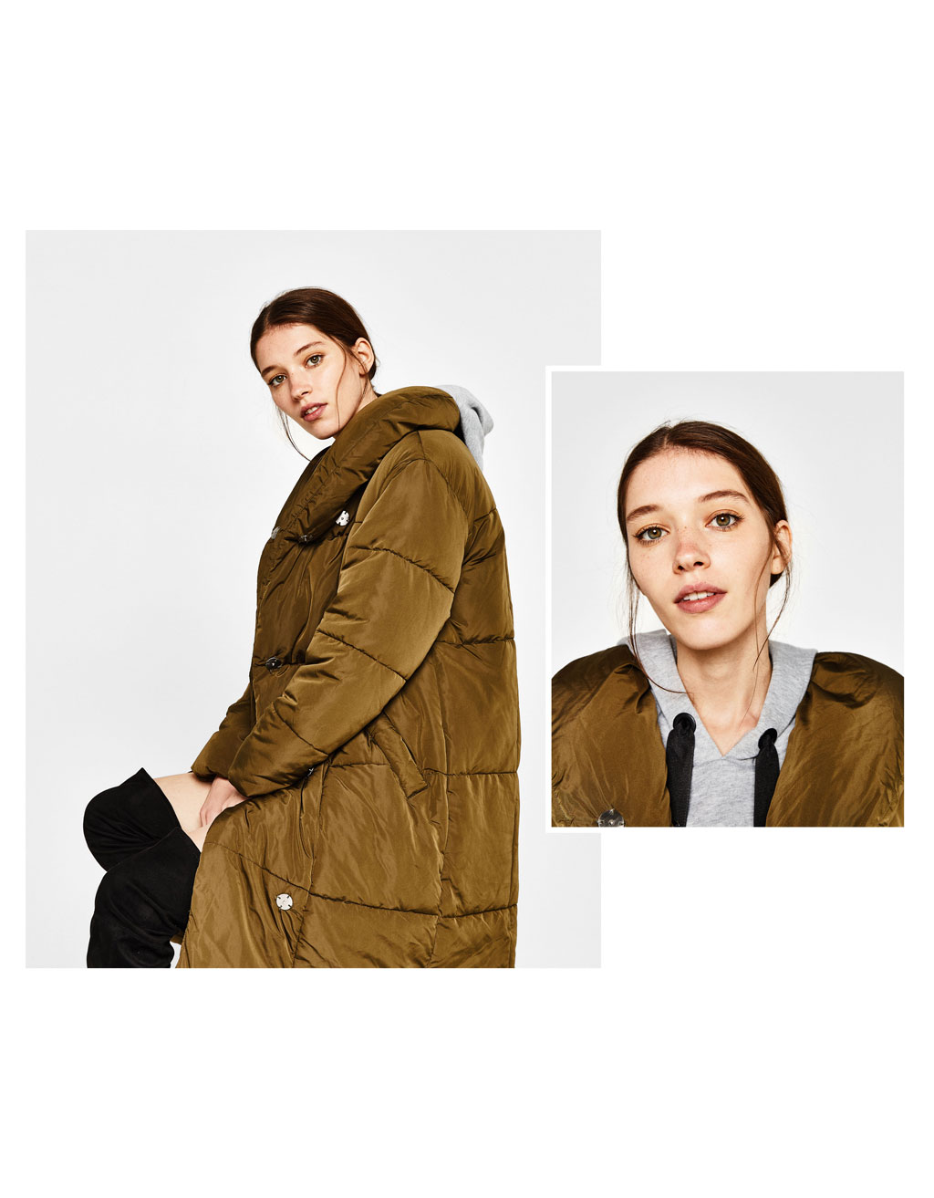 Long crossover puffer coat