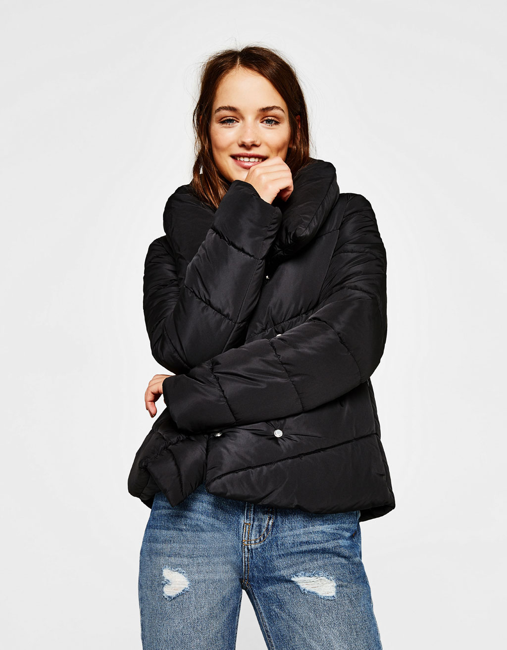 Crossover puffer coat