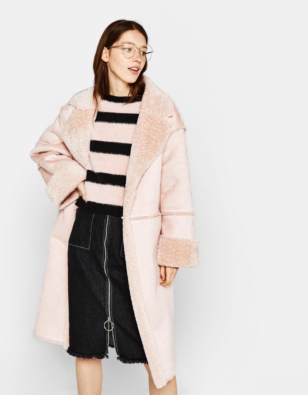 Double-sided split suede coat