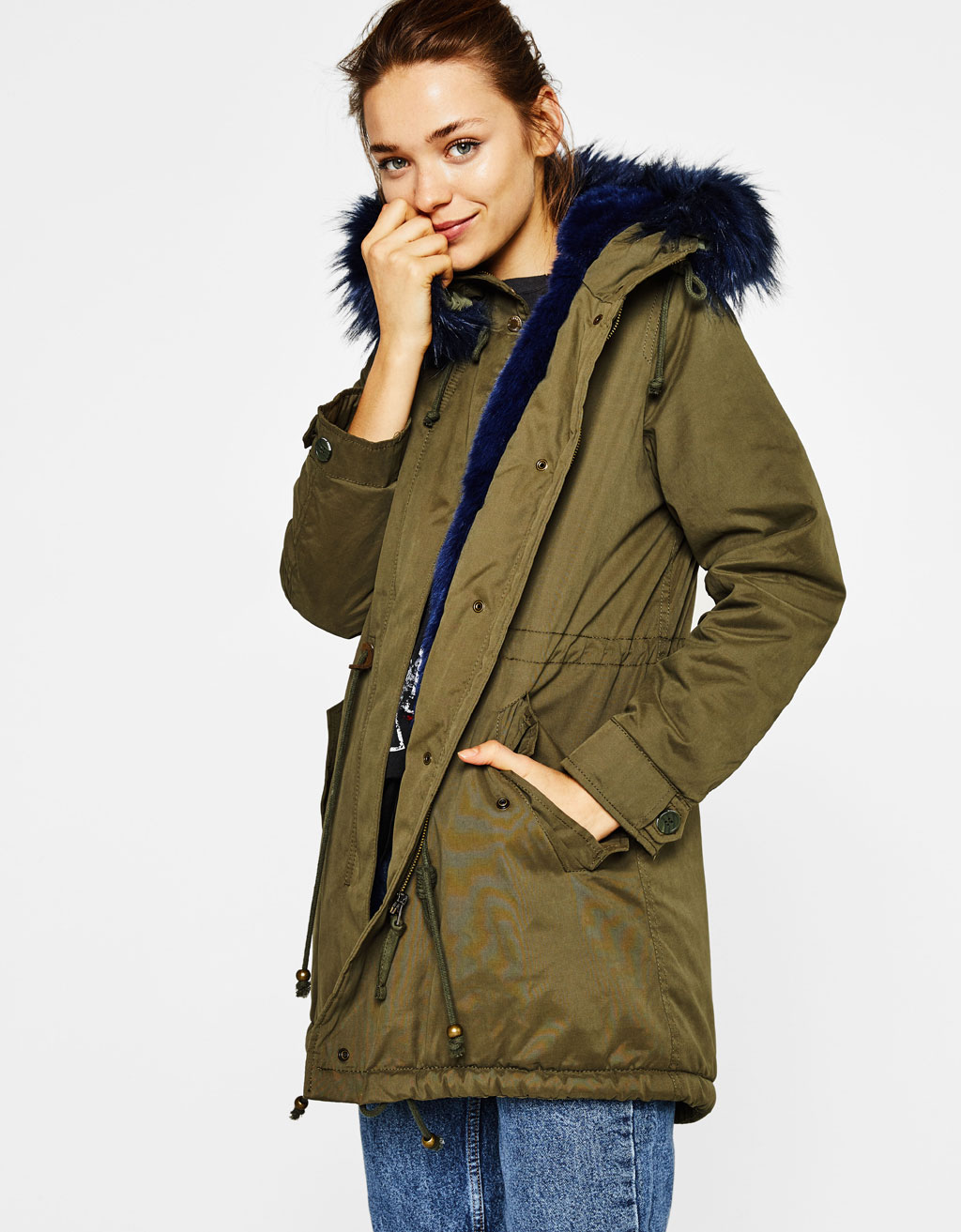 Long parka with faux fur lining