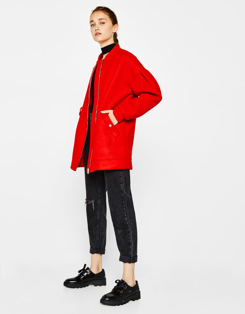 Bomber jacket with puffy sleeves