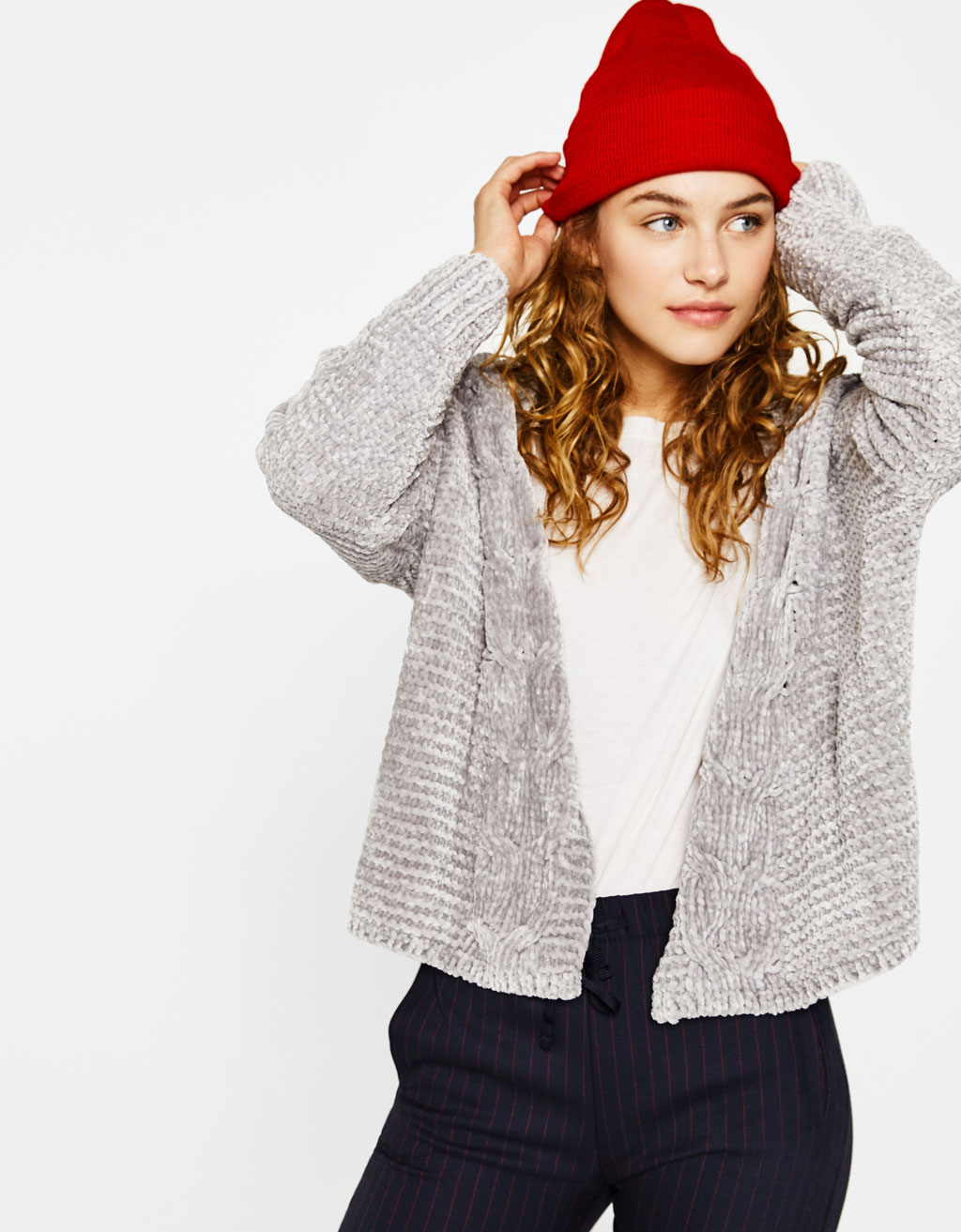 Chenille cardigan with cable-knit sleeves
