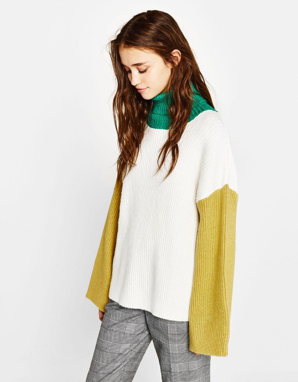 콤비 니트 스웨터