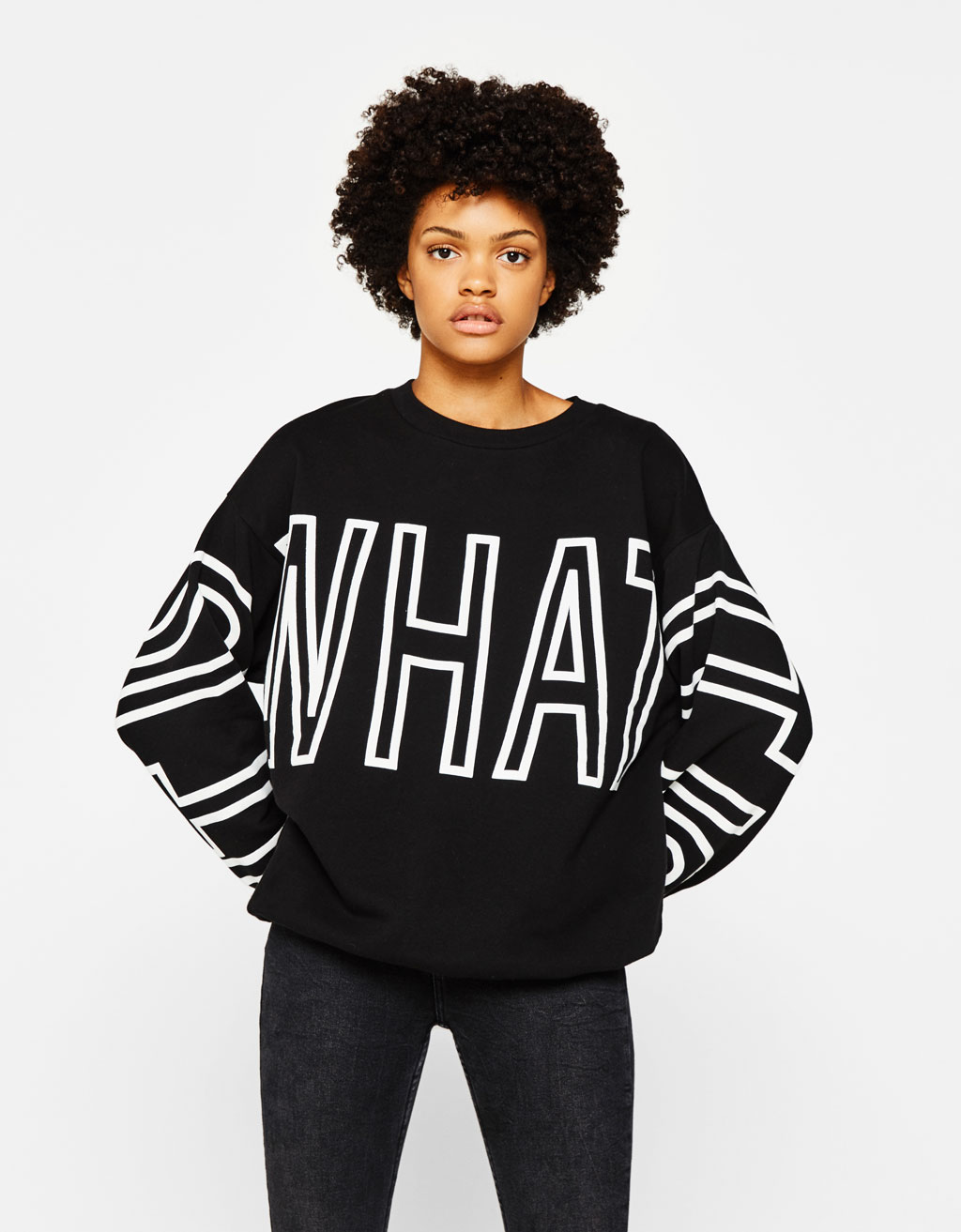 Oversized sweatshirt with slogan