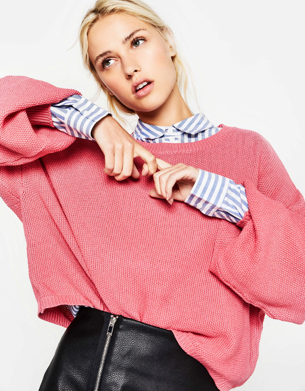 Cropped oversized sweater