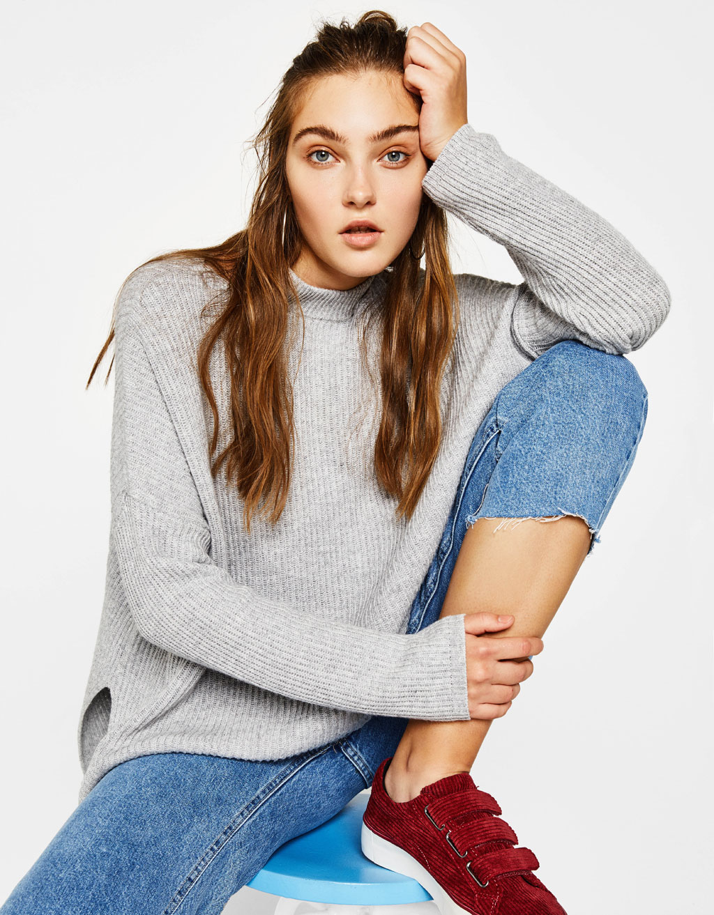 High neck sweater with side vents