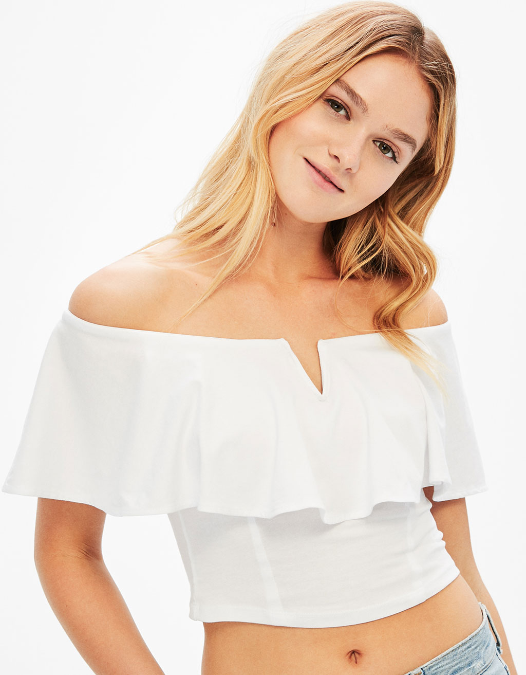 Ruffled T-shirt with bardot neckline