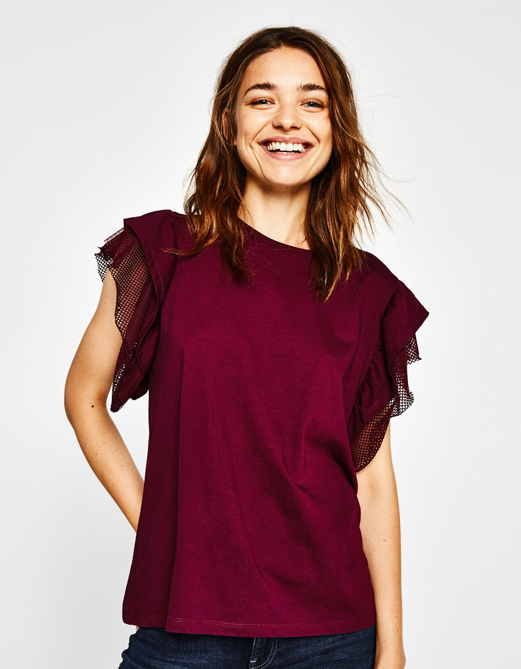 T-shirt with ruffled sleeves and mesh trims