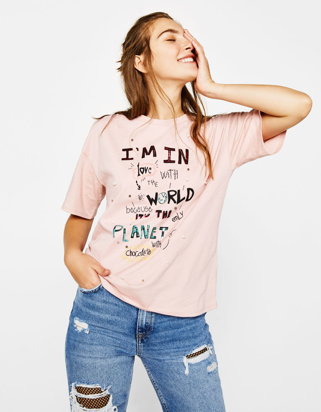 T-shirt with slogan and faux pearls
