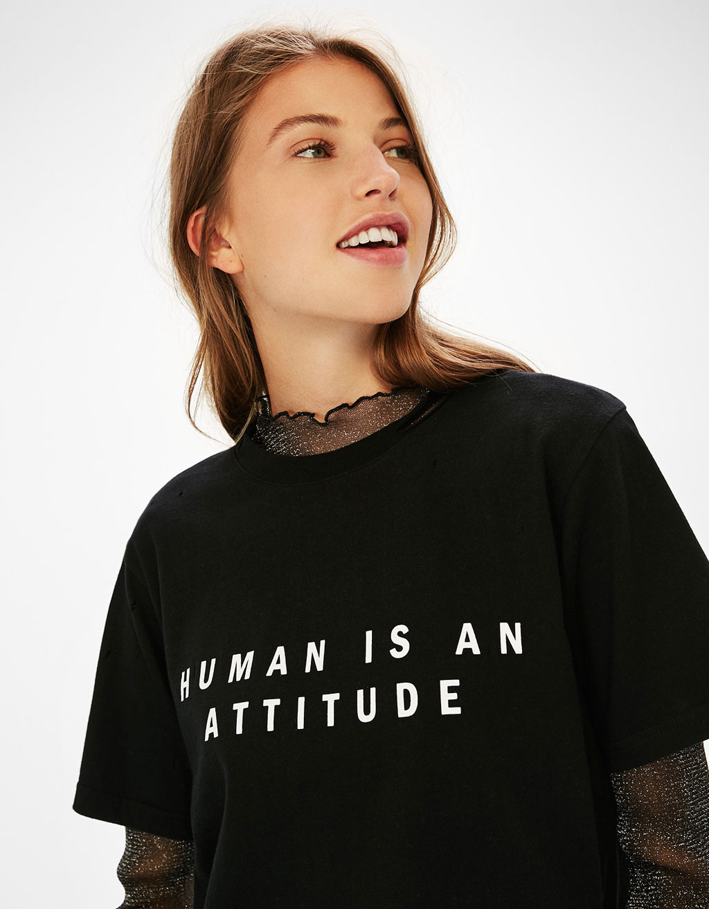 Ripped T-shirt with slogan