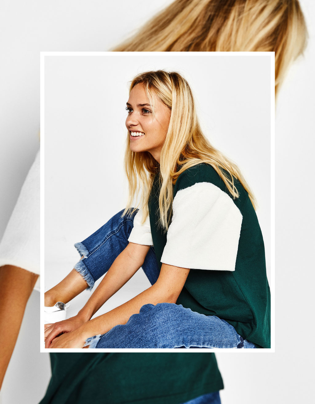 Oversized T-shirt with faux fur sleeves