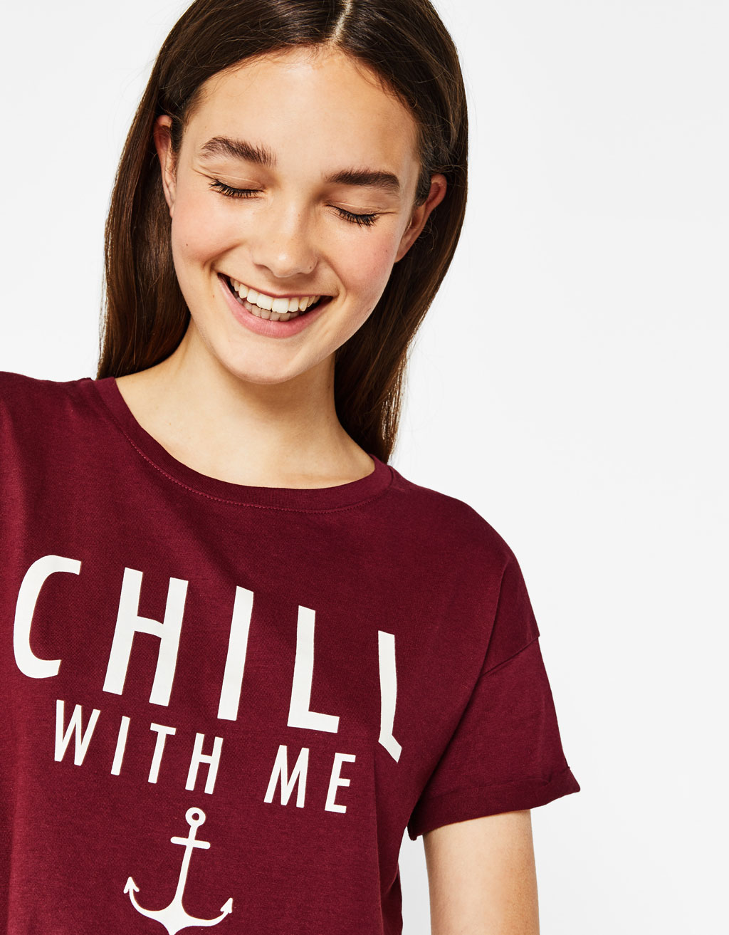Cropped T-shirt with printed slogan