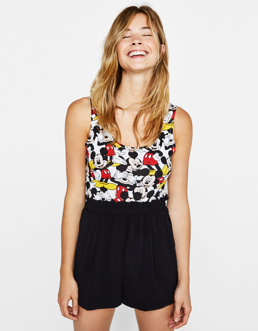 Mickey print bodysuit with thin straps