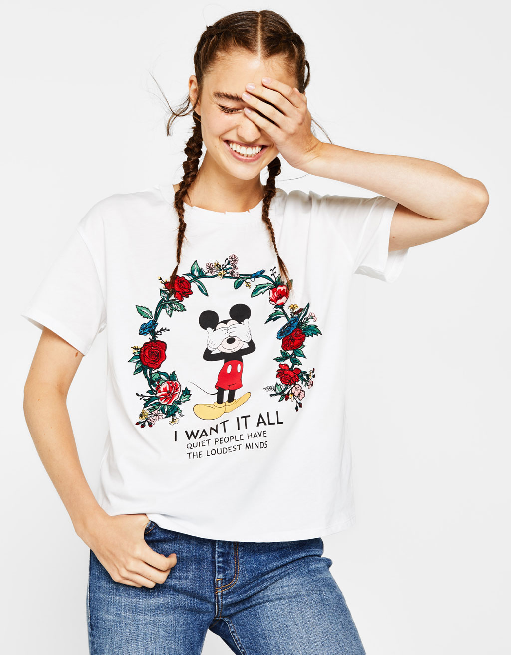 Mickey T-shirt with floral embroidery
