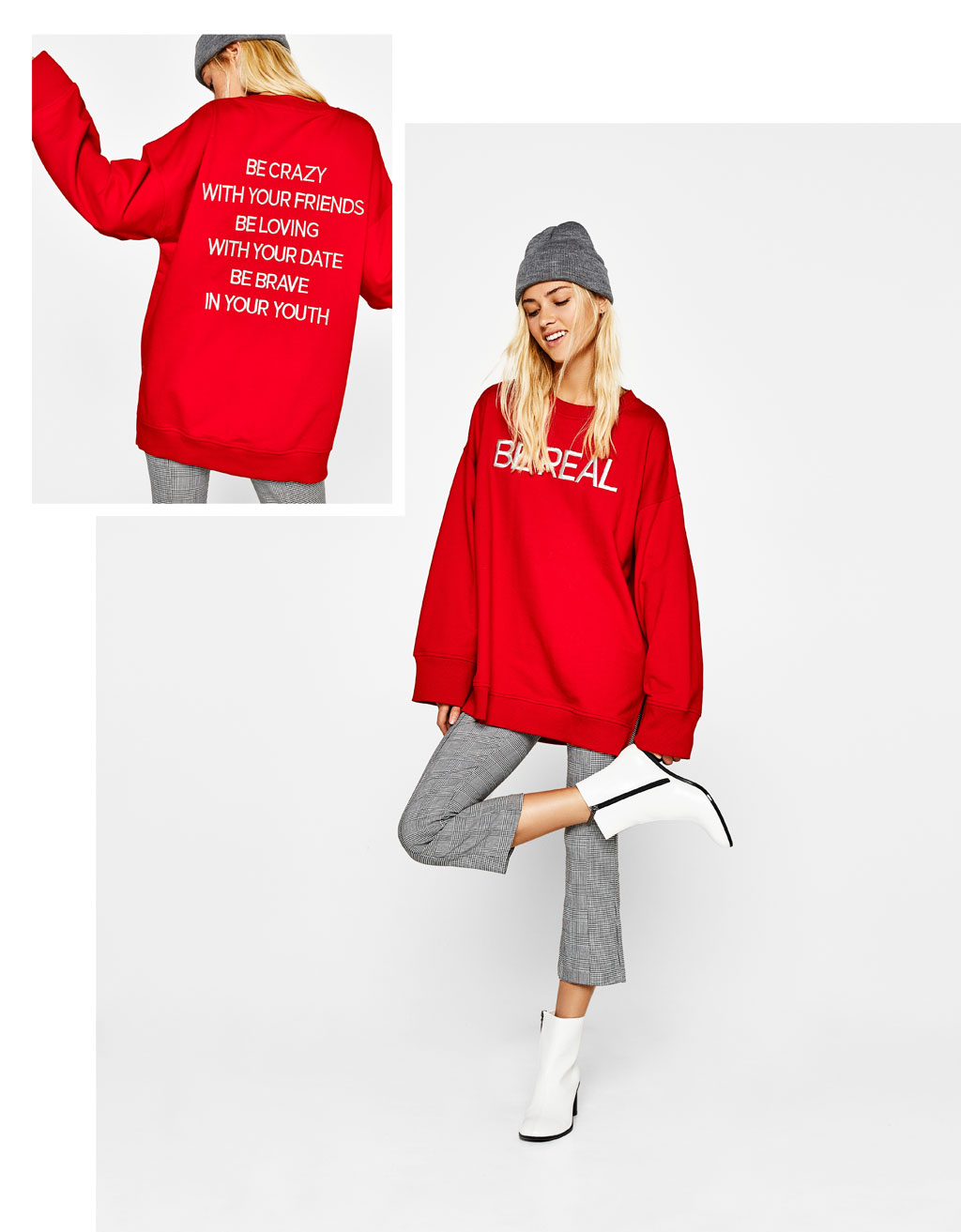 Oversized sweatshirt with embroidered slogan