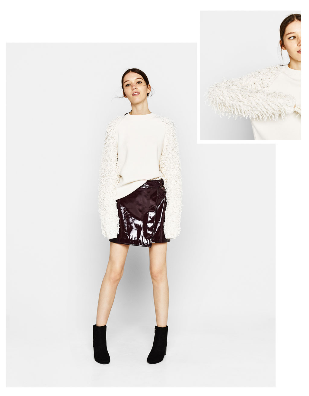 Sweater with fringed sleeves