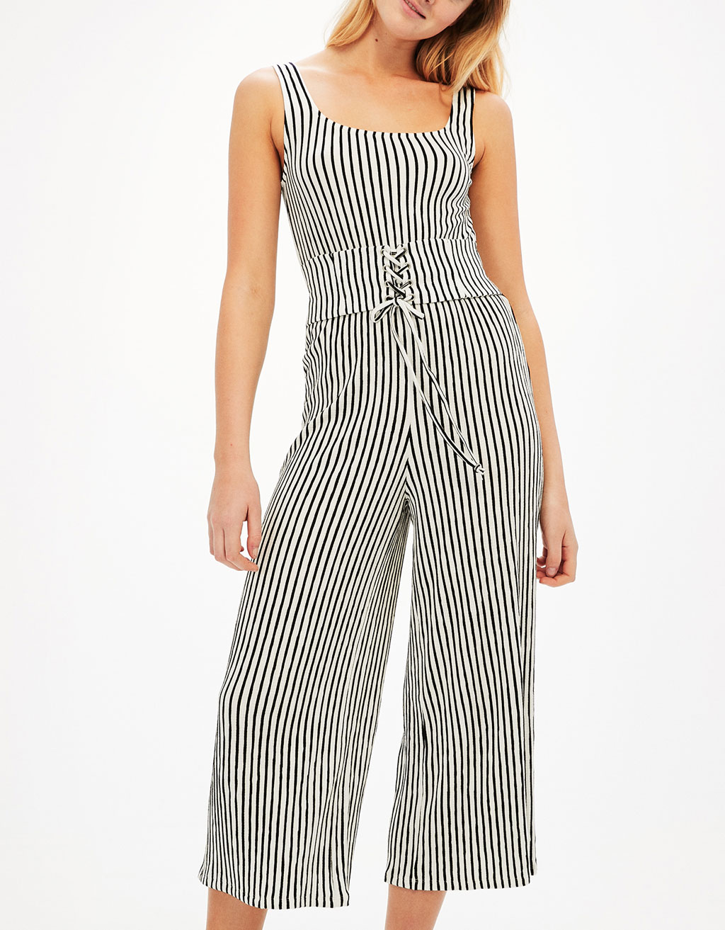Long jumpsuit with corset sash belt