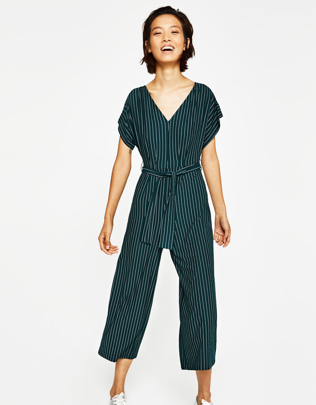 Long striped jumpsuit