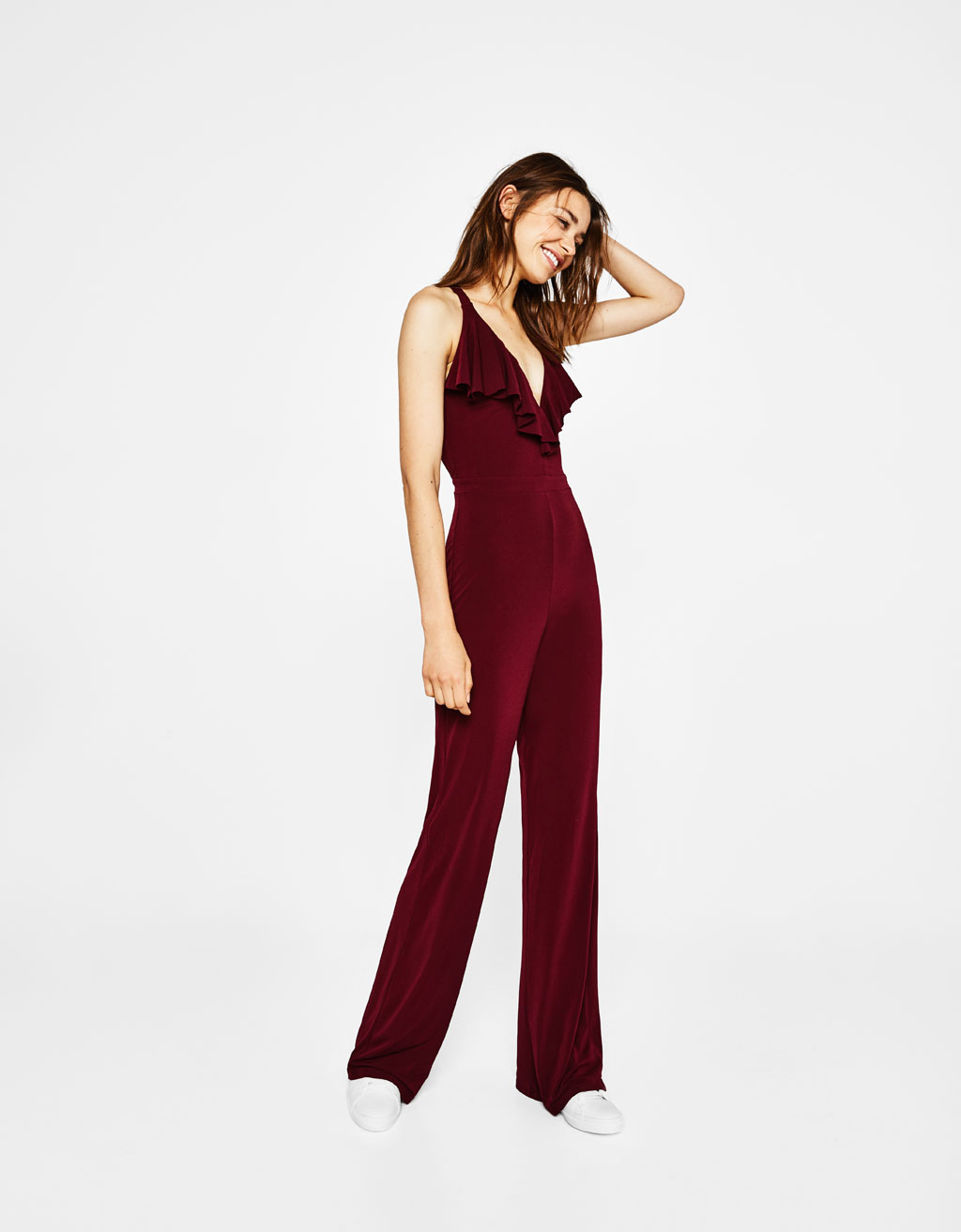 Crepe jumpsuit with ruffle trims