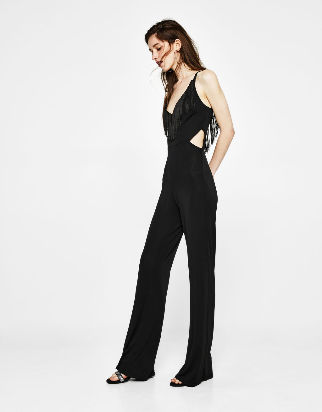 Flowing jumpsuit with fringe