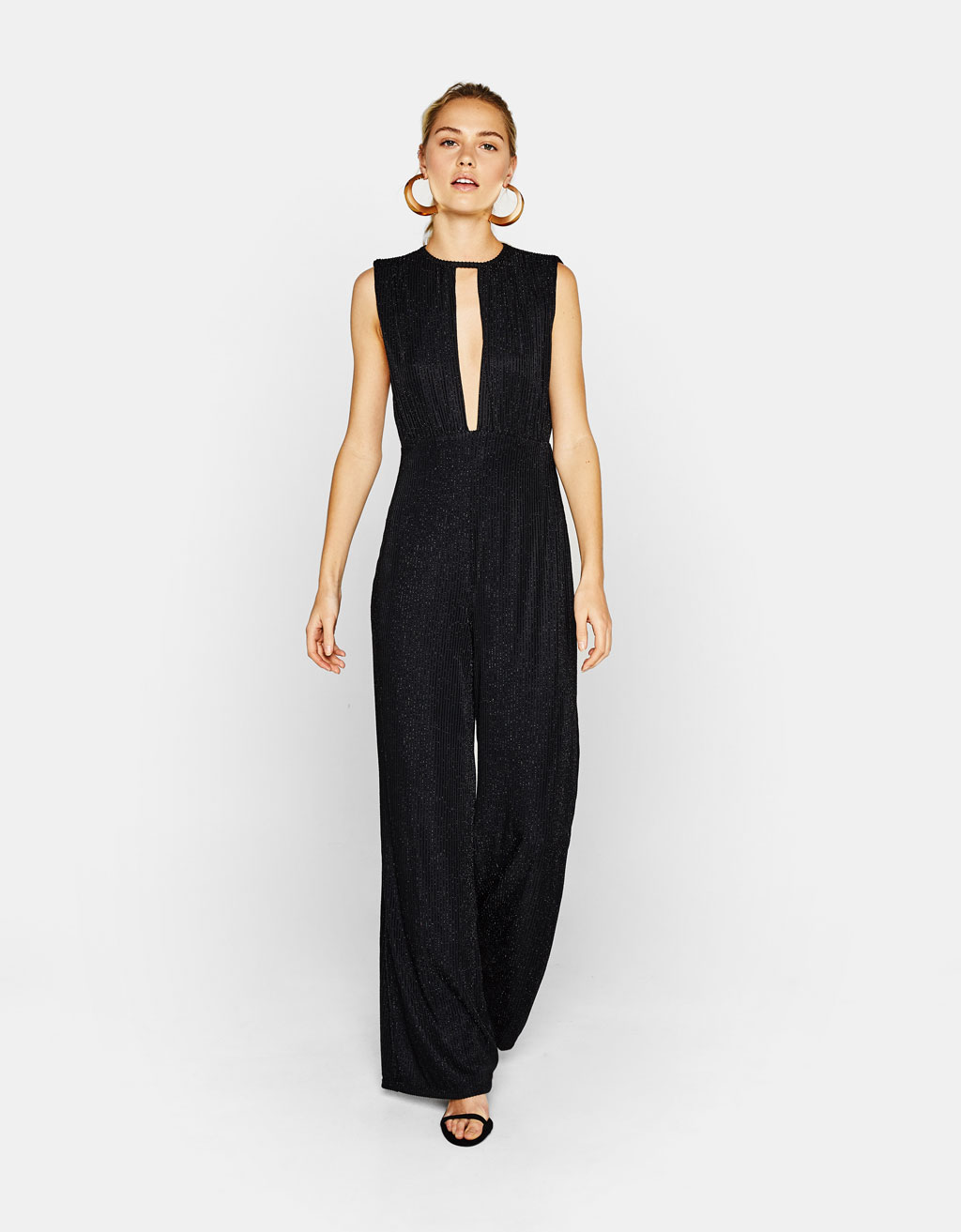Long jumpsuit with metallic stripes