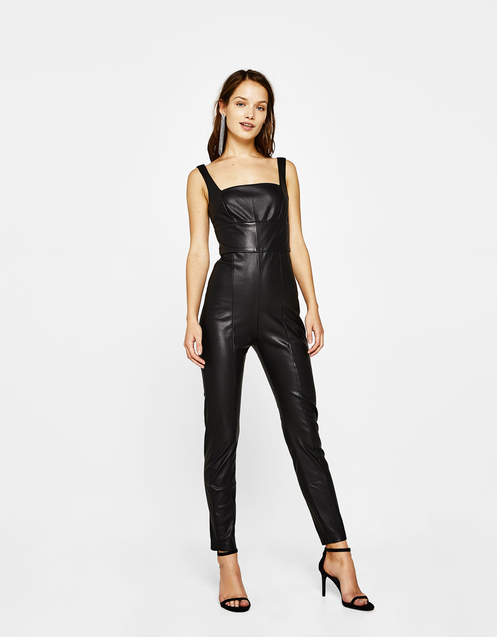 Long faux leather jumpsuit