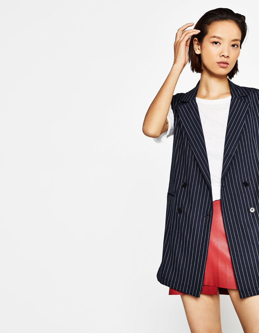 Striped double breasted waistcoat
