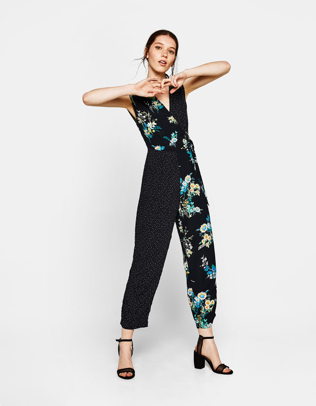 Long contrasting crossed jumpsuit