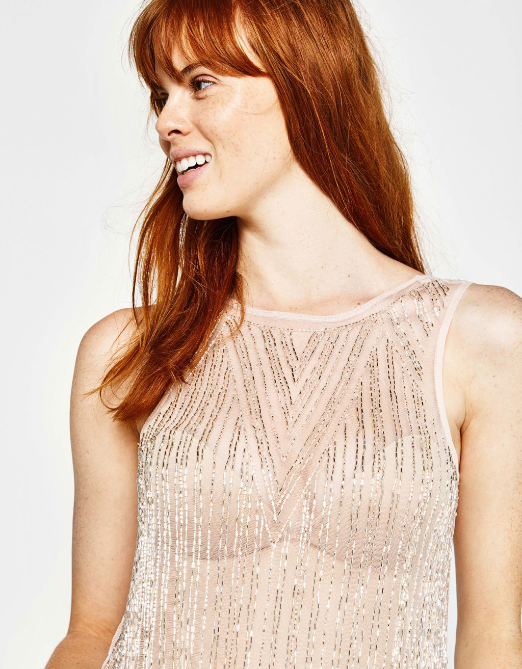Bejewelled tulle top