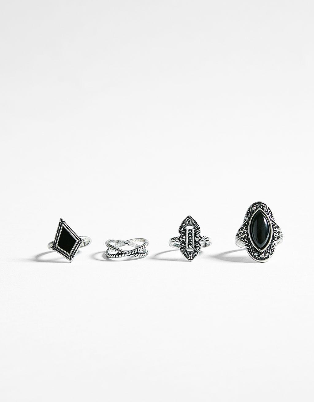 Set de 4 anillos boho