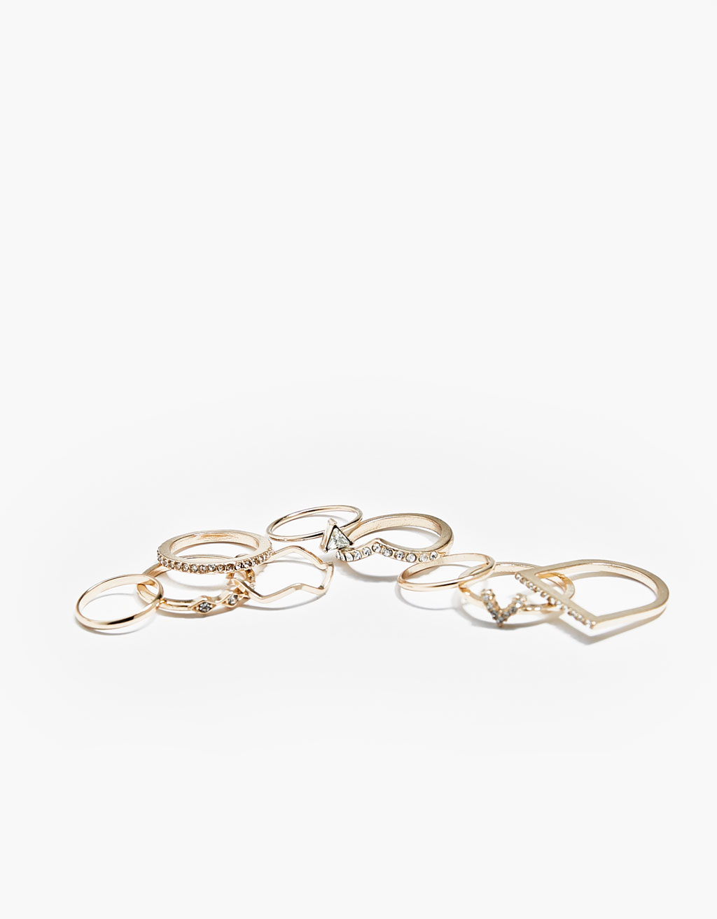 Set of 9 stone rings